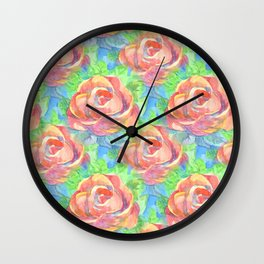 Red rose, green leaves and blue sky Wall Clock
