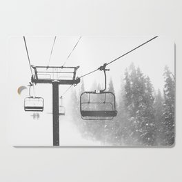 Chairlift Abyss // Black and White Chair Lift Ride to the Top Colorado Mountain Artwork Cutting Board