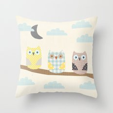 owls on a branch Throw Pillow