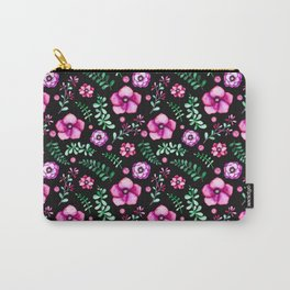 Modern neon pink green black watercolor flowers Carry-All Pouch