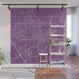 Gainesville Map, USA - Purple Wall Mural