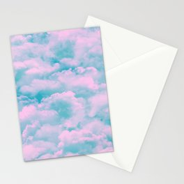 Teal sky, pink fluffy clouds Stationery Cards