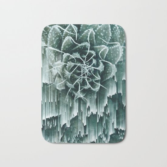 Succulent Glitches Bath Mat