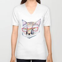 mr fox V-neck T-shirts featuring Mr Fox by Ashley Percival illustration