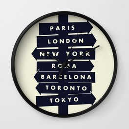 City signpost world destinations Wall Clock