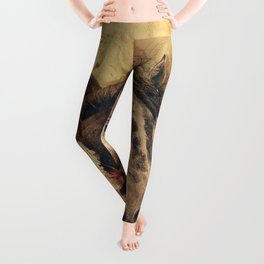 Galloping Wild Mustang Horses Leggings