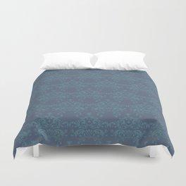 Vintage teal blue elegant floral damask Duvet Cover