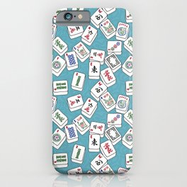 Mahjong Tiles Jumbled Across Aqua Background With Swirls iPhone Case