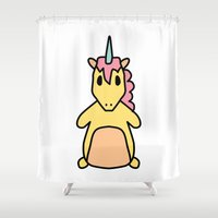 fat Shower Curtains featuring Fat Unicorn by Irene Florentina