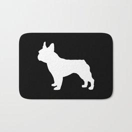 Boston Terrier black and white silhouette minimal pet portrait dog silhouettes Bath Mat
