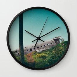 plane crash in the sky-Sólheimasandur Plane Crash Wall Clock