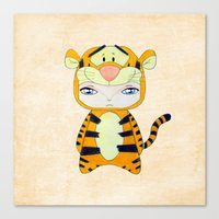 tigger Canvas Prints featuring A Boy - Tigger by Christophe Chiozzi