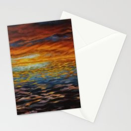 Setting sun behind clouds Stationery Cards