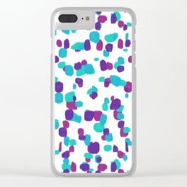 Modern Random Spots in Purple, Turquoise and Fuchsia Clear iPhone Case