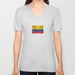 Vintage Aged and Scratched Colombian Flag Unisex V-Neck
