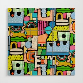 Color Block Collage Wood Wall Art