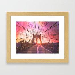 New York City Brooklyn Bridge Sunset Framed Art Print