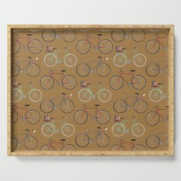 Holiday Bicycles on brown paper Serving Tray