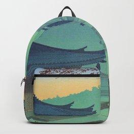 Asano Takeji Japanese Woodblock Print Vintage Mid Century Art Teal Turquoise Sunrise Shrine Backpack