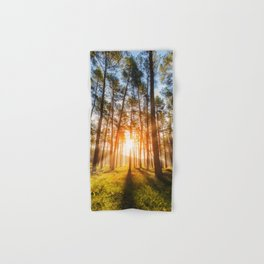 sunset behind trees in forest landscape - nature photography Hand & Bath Towel