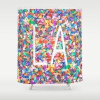 la Shower Curtains featuring LA by StuartWallaceArt