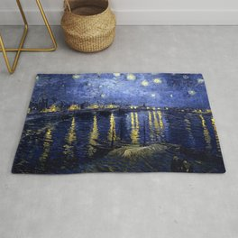 """Vincent Van Gogh """"Starry Night Over the Rhone"""" Rug"""