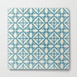 Moroccan tile - blue, beige Metal Print