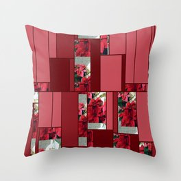 Mixed color Poinsettias 3 Art Rectangles 8 Throw Pillow