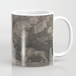 George Stubbs A Horse Affrighted by a Lion Black and White Vintage Ink Illustaration Fantasy Art Coffee Mug