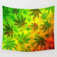 marijuana Wall Tapestries featuring Marijuana Leaves Rasta Colors by BluedarkArt