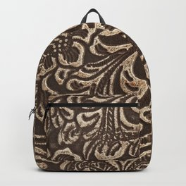 Gold & Brown Flowered Tooled Leather Backpack