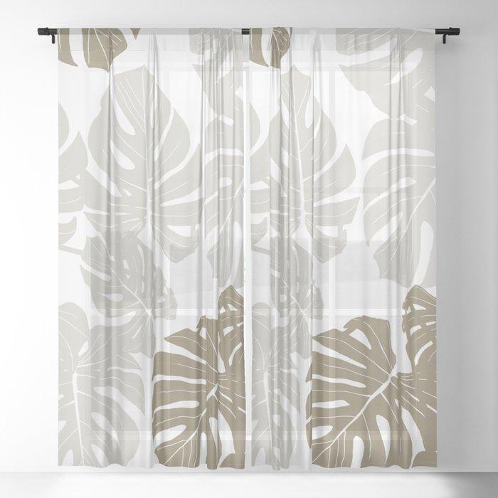 Beautiful Large Beige Leaves on White Background #decor #society6 #buyart Sheer Curtain