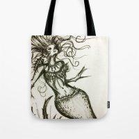 sassy Tote Bags featuring Sassy Mermaid by OnceUponAWonderland