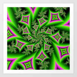 Green And Pink Shapes Fractal Art Print