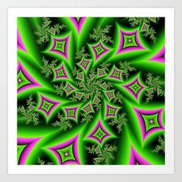 Green And Pink Shapes Fractal Art Print