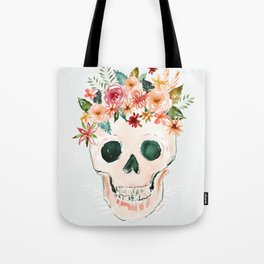 PRETTY OUTLAW Flower Crown Skull Tote Bag