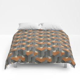 Burnt orange on concrete Comforters