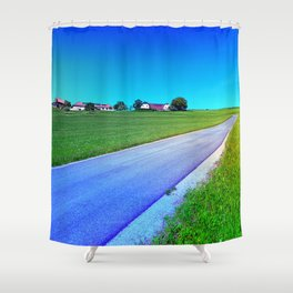 Small country road and a hill Shower Curtain