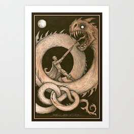 the Dragons Blight and the Warrior Bright Art Print