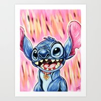 stitch Art Prints featuring Stitch by MSG Imaging
