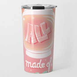 We are all made of stars, typography modern poster design with astronaut helmet and night sky, pink Travel Mug