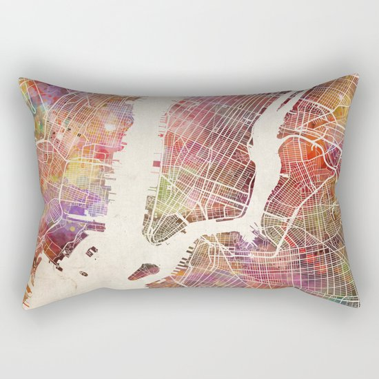 New York Map Watercolor Rectangular Pillow