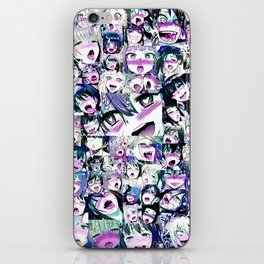Ahegao Hentai Girls Anime Manga Collage Multicolor iPhone Skin