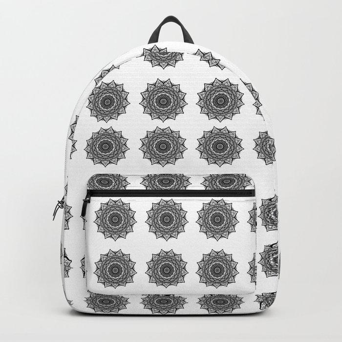 Black and White Mandala   Secret Geometry Backpack