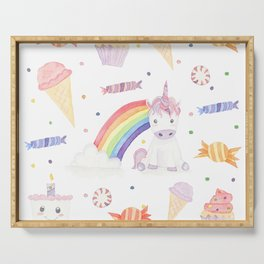 Kawaii Unicorn with Candy and Rainbows Serving Tray