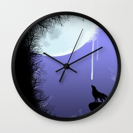 wolf drinking moon Wall Clock