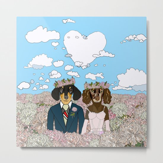 Dachshund Lovers - Honeymoon Metal Print