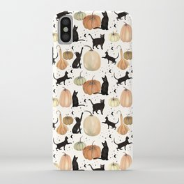 Black Cats Pumpkin Patch Fall Halloween Pattern iPhone Case