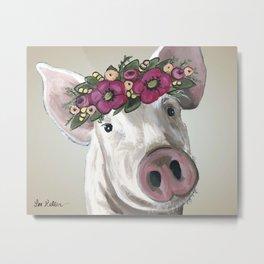 Cute Pig Painting, Farm Animal Art Metal Print