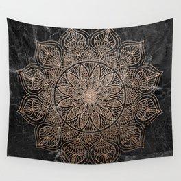 Mandala - rose gold and black marble 4 Wall Tapestry